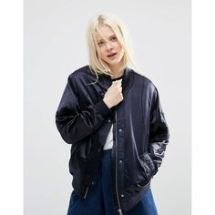 ASOS Luxe Bomber Jacket In Satin ($71) ❤ liked on Polyvore featuring outerwear, jackets, navy, blouson jacket, lightweight jackets, satin bomber jacket, bomber style jacket and navy bomber jacket