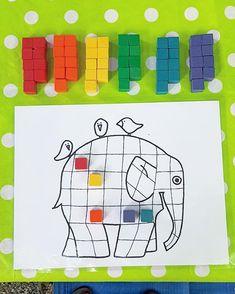 Activity for Book, Elmer by David McKee (from @perfectpreschoolplans via Instagram) Home Learning, Home Schooling, Elephants, Festivals, Reception, David, Activities, Patterns, Logos
