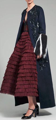 J. Mendel Pleated Dress & Embroidered Coat