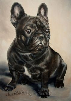 oil French Bulldog painting