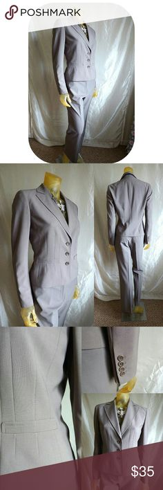 """Ann Taylor - Oyster Gray Pant Suit Nice 2 piece suit for those times when you want to make a professional and polished impression.  Blazer has Notched collar and is satin lined, 3 button front closure, front pockets and slim-fit stitching. 21"""" from nape to hem, 16"""" across shoulders, 24"""" button-cuff sleeves(from shoulders)  Pants: Unlined 4 pocket style with 30"""" dropped waist, 8"""" rise, 38"""" outerseam/30"""" inseam. Zip with slide hook and button closure. 53% poly/43% Wool/4% spandex. Ann Taylor…"""