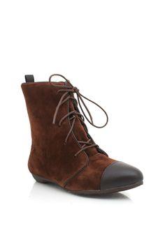 lace-up cap toe booties $25.30 in BLACK GREY TOBACCO - Booties | GoJane.com