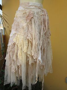 """vintage inspired extra shabby cotton wrap skirt/shawl...a work of art and love...40"""" across"""