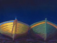 Colorful Boats at Twilight Pastel Painting by Poucher, painting by artist Nancy Poucher
