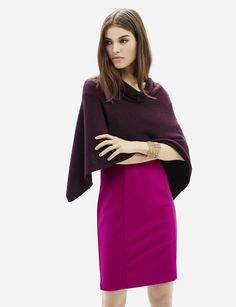 V-Back Poncho - A tasteful neckline has sophisticated style that'll dress up any sheath dress with comfortable elegance.