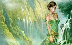 Green skirt oriental girl wallpaper 1920x1200