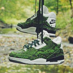 JBFcustoms Green Python Air Jordan 3s