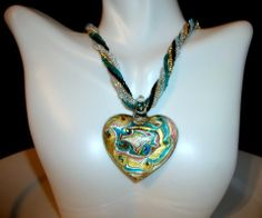 Murano Heart Pendant Necklace by Culbertscreations on Etsy, $30.00