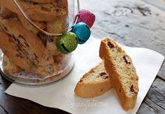 From Skinny Taste - Pistachio Cranberry Biscotti - These Italian biscotti cookies are loaded with pistachios and cranberries, then twice baked to form a crispy delicious cookie, perfect for dunking! Biscotti Cookies, Biscotti Recipe, Yummy Cookies, Yummy Treats, Sweet Treats, Yummy Food, Almond Cookies, Ww Recipes, Skinnytaste Recipes