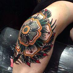 Knee tattoo, flower, traditional,