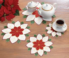 Red and White Christmas Embroidered Poinsettia Dollies