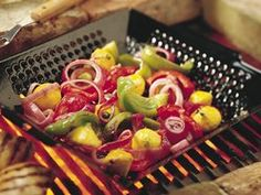 One of my favorite cooking items. Throw the veggies on the Bbq in this great grilling pan.
