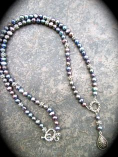 Extra long Peacock pearl necklace Rosary style necklace  Lustrous Peacock pearls Teardrop pendant Special Price on Etsy, $20.00
