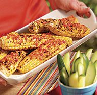 GRILLED CORN ON THE COB WITH THYME AND ROASTED RED PEPPER BUTTER http://www.finecooking.com/recipes/grilled-corn-cob-thyme-roasted-red-pepper-butter.aspx ⇨ Follow City Girl at link https://www.pinterest.com/citygirlpideas/ for great pins and recipes!  ☕