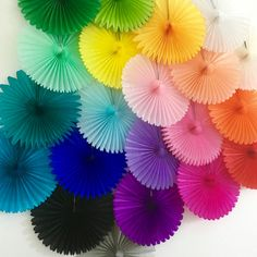 Mini Skater 6 Pcs Hanging Paper Fan Set with Strings Paper Clip Vibrant Rosettes Colorful Wall Decoration Supplies for Birthday Fiesta Graduation Parties Wedding Baby Shower Event