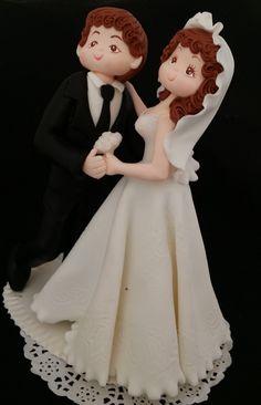 Personalized Wedding Cake Topper, Bride Groom Cake, Bride Groom Dancing Topper, Groom in Black Tuxedo, Funny Wedding Cake, White Weddings