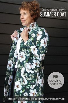 This coat sewing pattern may be simple, but it's a classic for all year around. Sew in cotton sateen for a summer evening at the park, movies or opera, or in a woven wool for winter. Long or short options. Feature fold over pockets and stand up or sit down collar. Instant download at The Sewing Revival.    #easycoatpattern #summercoat #diycoat Coat Pattern Sewing, Pdf Sewing Patterns, Coat Patterns, Summer Coats, Wool Felt, Felted Wool, Clothing Hacks, Sewing A Button, Silk Fabric