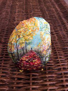 Handmade painted stone : Autumn Landscape. Handmade by Muallaa...BEAUTIFUL!!