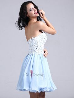 A-line Sweetheart Chiffon Short/Mini Light Sky Blue Appliques Homecoming Dress at Msdressy