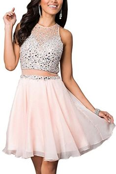Lovelybride Mock 2 Pieces Homecoming Dress Short Prom Par...