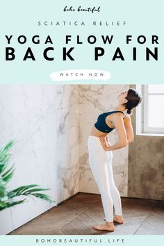 This 30 minute gentle yoga class is designed specifically for anyone suffering from back pain, sciatica pain, or lower body soreness. With a gentle increase of movement, yoga postures, therapeutic strength exercises we will be gently stimulating the back muscles, and stretching the glutes and hamstrings. This yoga class for back pain is also great for anyone suffering from bulging disks or disk herniation. | Yoga Fitness | Yoga Workout | Exercises for Women | Juliana Spicoluk | Boho Beautiful yoga poses for beginners YOGA POSES FOR BEGINNERS | IN.PINTEREST.COM #HEALTH #EDUCRATSWEB