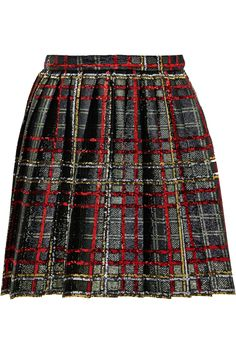 Saint Laurent | Plaid sequined pleated mini skirt | NET-A-PORTER.COM