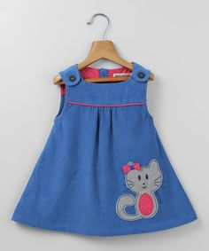 Another great find on #zulily! Sky Blue Corduroy Cat Appliqué Dress - Infant & Toddler #zulilyfinds