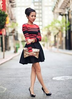 cute outfit: love the stripe top and flouncy skirt #ladylike