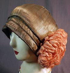 Vintage Art Deco Silver Lamé Lame Pink Paper Rosette Flower Flapper Cloche Hat | eBay