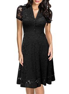 Miusol Damen Elegant Sommerkleid V-Ausschnitt Kurzarm Business CocktailKleid Spitzen Party Kleid Schwarz EU 44 XL