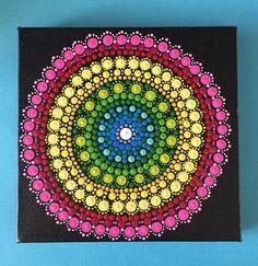 "Hand painted Mandala- 6"" canvas- dot painting by FloridaFunshine on Etsy https://www.etsy.com/listing/244052530/hand-painted-mandala-6-canvas-dot"