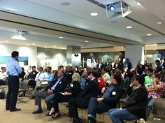 CA Assemblyman and San Diego Mayoral candidate Nathan Fletcher addresses a standing-room only crowd at StartupCircle