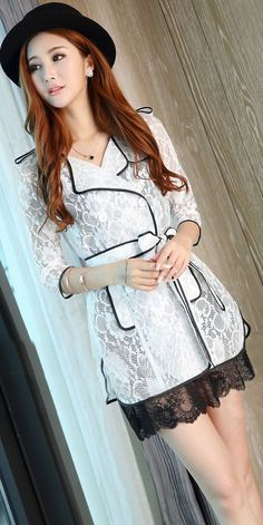 Morpheus Boutique  - White See Through Double Breasted Belted Long Sleeve Coat Jacket