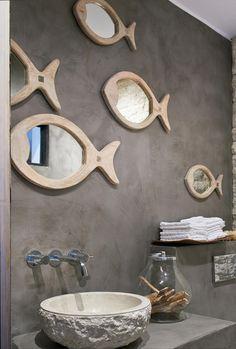 Spiegel in Fischform zaubern Nordsee-Stimmung in jedes Badezimmer #mirror #bathroom #fish