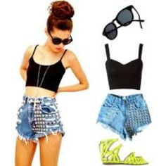 cute misfits outfits | Cute High Waisted Shorts Outfit