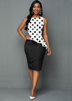 Elegant Outfit, Elegant Dresses, Elegant Clothing, Party Dress Sale, Latest Dress For Women, Color Blocking Outfits, Africa Dress, Spandex Dress, Polka Dot Print