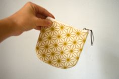 Small pouch, Canvas coin purse, Mini zipper pouch, japanese pattern print, Screenprinted pouch by UMEHARAKABAN on Etsy