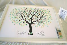"""Cuadro de firmas con huellas para invitados modelo """"Arbol de huellas 6"""". (60 x 80 cm) Pack completo de Cuadro de firmas de árbol de huellas para que tus invitados dejen su huella y su firma. Una..."""