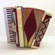 Vintage Red Ivory Marble Grand Deluxe Noble Accordion Piano Hand Organ Italian   eBay