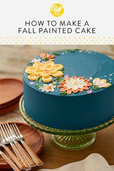 Whether you're hosting a birthday or a fall wedding shower, this Autumn Floral Cake is a wonderful way to put a crowning touch on your celebration. The rustic look of these flowers is made by using wi Cake Cookies, Cupcake Cakes, Cupcakes, Buckwheat Cake, Zucchini Cake, Fall Cakes, Salty Cake, Wilton Cakes, Buttercream Flowers