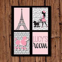 Eiffel Tower & Poodle Paris Print in Black by pickledoodledesigns, $12.00