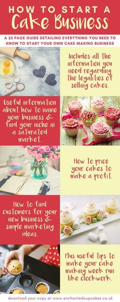 How to start a cake decorating business. Useful 25 page guide which helps you to : - Start your own cake business - The legalities of starting a cake business. - How to price your cakes to make a profit. - How to name a cake business - How to find customers for your cake business - Simple marketing ideas for cake business including social media tips.