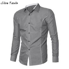 Men Shirt Slim Line Long Sleeve Brand Mens Clothing Designer 3D Print Social Business Contrast Color Turn-down Collar #2415