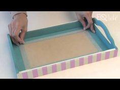 Cómo decorar una bandeja con decoupage y decapado - YouTube