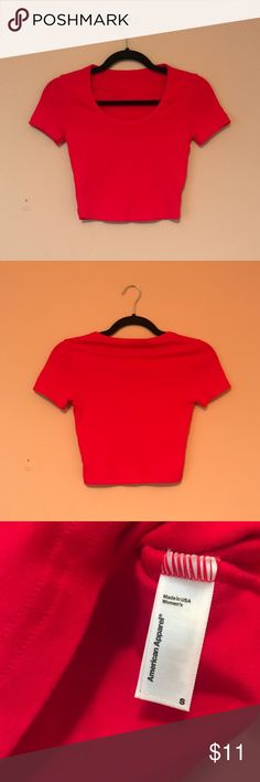 American Apparel Red Crop Top Red crop top from AA. Size S but can fit sizes xs-m. American Apparel Tops