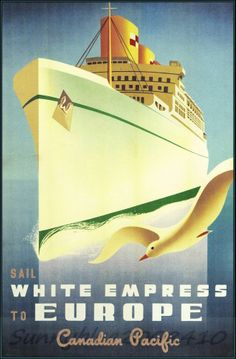 Canadian Pacific White Empress 1950 http://stores.ebay.com/Vintage-Poster-Prints-and-more