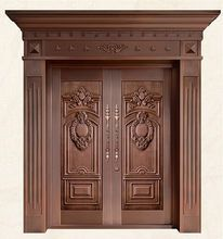 Bronze door security copper entry doors antique Copper Retro Door Double Gate Entry Doors H Wooden Front Door Design, Main Entrance Door Design, Wooden Front Doors, Home Door Design, House Front Design, House Front Door, Entry Gates, Entry Doors, Pooja Room Design