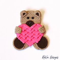 polymer clay teddy bear heart magnet cute sculpey valentine's day decor handmade Diy Bracelet Storage, Jewelry Rack, Chalkboard Art, Program Design, Handmade Wooden, Polymer Clay, Magnets, Craft Projects, Teddy Bear