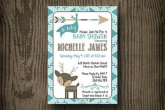 Baby Shower Invitation  Deer Baby Shower  by ellekaydoodle on Etsy