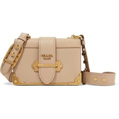 Prada Cahier leather shoulder bag ($2,860) ❤ liked on Polyvore featuring bags, handbags, shoulder bags, beige, genuine leather shoulder bag, leather purses, crossbody purses, shoulder strap bags and crossbody handbags